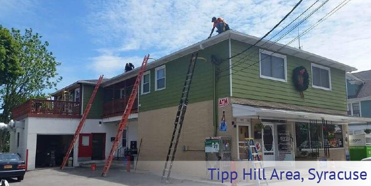 Max-Flow Seamles Gutters & Windows installing new gutters in Tipp Hill Area, Syracuse